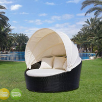Outdoor Wicker Patio Furniture Round Daybed w/ Retractable Canopy CW-GB10
