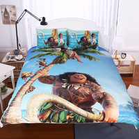 Moonpalace Moana Bedding Set Ocean Cartoon Children Kids Bedclothes Demigod Maui Printed Movie Themed Duvet Cover Multi Size