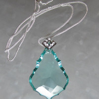 Teal Mint Crystal Necklace Symmetrical German Baroque Crystal Seafoam Aqua Pendant