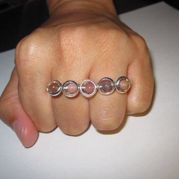 Two Finger Ring Jasper Beads Silver Plated Wire by aLilJazzJewelry