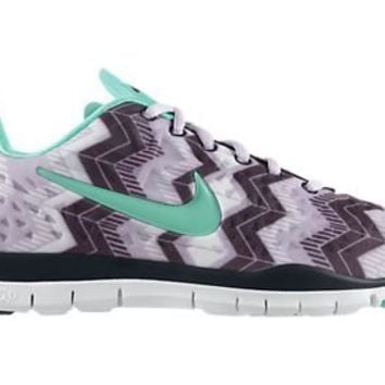 Womens Nike Free TR Fit 3 Print Training Shoes Violet Frost/Purple Dynasty/Green Glow Size 7