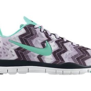 591c9af63323 Womens Nike Free TR Fit 3 Print Training Shoes Violet Frost Purple  Dynasty Green Glow
