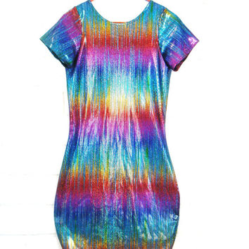 90's HOLOGRAPHIC BODYCON DRESS vintage rainbow shimmer sparkle glitter spandex mini