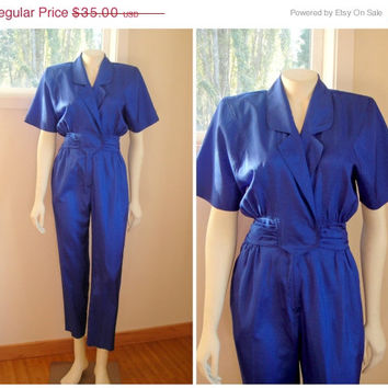 25% Sale 80's Cobalt Blue Jumpsuit. Women's Jumpsuit. Retro Romper. Medium M