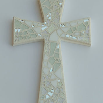 """Mosaic Wall Cross, Shades of White + Silver Mirror, Handmade Stained Glass Mosaic, 12"""" x 8"""", Wedding, Baptism, Communion, Confirmation Gift"""