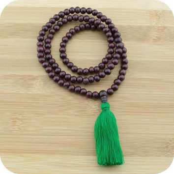 Rosewood Mala with Green Tassel
