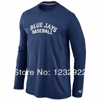 Toronto Blue Jays T-Shirts Long Sleeve Practice Baseball Blue Jays TShirt Long Sleeve O-Neck 100% Cotton 7 Colors
