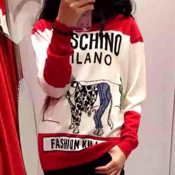 MOSCHINO Fashion Women Cute Cow Sweater Loose Round Collar Long Sleeve Knit Top I12681-1