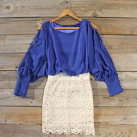 Lace and Quartz Dress in Lapis