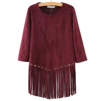 Women suede fringe t shirt wine tassels tees O-neck three quarter sleeve shirts camisas femininas casual loose tops LT623