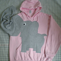 Elephant trunk sleeve HOODIE Pale Pink UNISEX MEDIUM