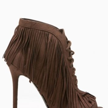 Brown Faux Suede Fringe Lace Up Peep Toe Booties @ Cicihot Heel Shoes online store sales:Stiletto Heel Shoes,High Heel Pumps,Womens High Heel Shoes,Prom Shoes,Summer Shoes,Spring Shoes,Spool Heel,Womens Dress Shoes