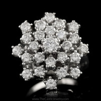 Stunning 2.75cttw Round Diamond Cluster Ring w/ Arthritic Shank in 14K White Gold