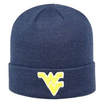 Licensed West Virginia Mountaineers Cuffed Knit Tow Beanie Stocking Stretch Sock Hat Cap KO_19_1