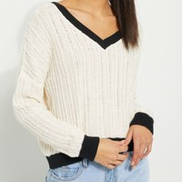 Black Contrast Cable Knit Sweater