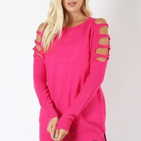Sassy Cut Out Sweater - Hot Pink