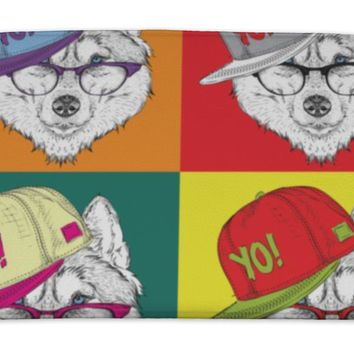 Bath Mat, Portrait Of Husky In Baseball Cap With Glasses Pop Art Style Illustration