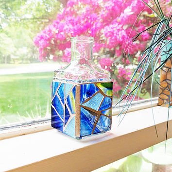 Small Blue Stained Glass Mosaic Bottle Vase
