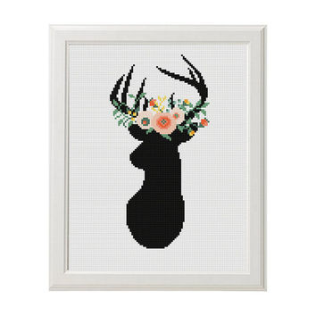 Flower Deer Cross Stitch Deer Cross stitch Floral Antler theme cross stitch Deer Sign Animals Wall Home Modern Decor Embroidery scheme