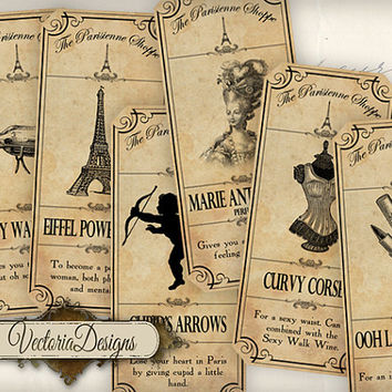 The Paris Shoppe Labels printable gift tags instant download digital Collage Sheet VD0515