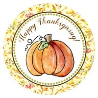 Happy Thanksgiving Pumpkin Stickers for Fall / Autumn Season - Set of 30