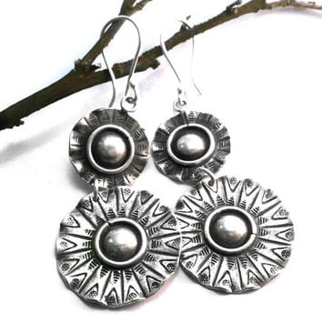 Tribal Sun Boho Earrings - Bohemian Jewelry - Large Silver Earrings - Ethnic Silver Earrings