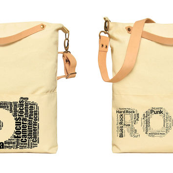 Typography Art Word Printed Canvas Leather Strap Crossbody Messenger Bag WAS_35
