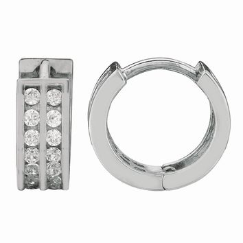 Silver with Rhodium Finish Shiny 4.0X9.0mm Clear Cubic Zirconia Huggie Earring