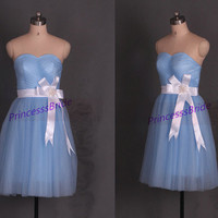 Short tulle bridesmaid dresses in 2014,latest cheap bridesmaid gowns on sale,chic knee length girls dress for wedding party.
