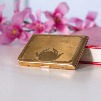 Compact Cigarette Case: Vintage Brass Cigarette Box / Holder, Money Case / Metal Wallet, Gold Shade Cigarette Case