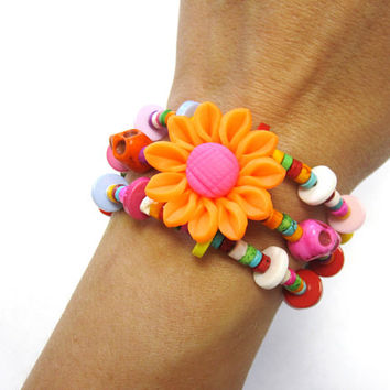 Day of the Dead Bracelet Sugar Skull Jewelry Wrap Cuff Daisy Flower Orange Pink Yellow White Green Blue Purple