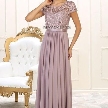 Cap sleeve Plus Size Prom Dress & Gown MQ1486 - CLOSEOUT