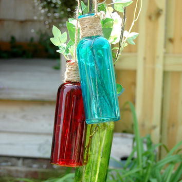 Michigan Fall 3 Colored Bottle Collection in Blue Red and Green bottles jute wrapped cascading bottles for home decor, wall decor