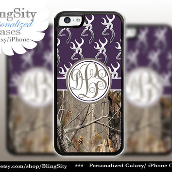 Monogram Iphone 5C case Browning Dark Purple iPhone 5s iPhone 4 case Ipod 4 5 case Real Tree Camo Deer Personalized Country Inspired Girl