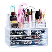 1Set Clear Make Up Box Drawers Cosmetic Organzier Jewelry Display Storage Cabinet (Color: Transparent)