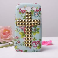 Gold Stud Cross With Red Flower Hard Case For SAMSUNG Galaxy S3( I9300)
