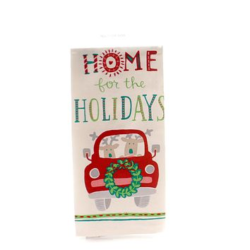 Christmas HOME FOR HOLIDAYS DISH TOWEL Cotton Reindeer Car 29661