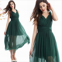 Dress Summer Women Brand High Quality Navy Blue Red Green Solid Classic Long Style Sleeveless Fashion Design Vneck Free Shipping
