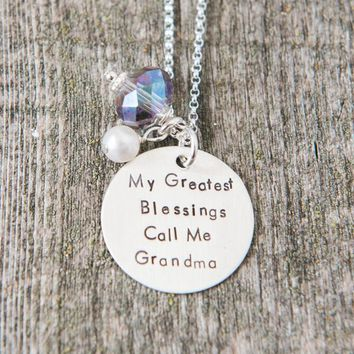 My Greatest Blessings Call Me Grandma Necklace