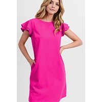 Ruffle Sleeve Dress - Fuchsia