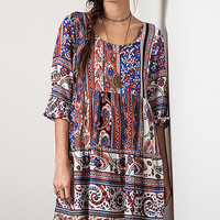 Elegant Apparel Blue Paisley Tie-Back Peasant Tunic | zulily