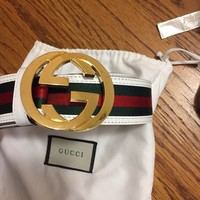 Gucci Belt White w/ Gold Buckle Size 30-34