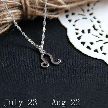 Sterling silver Leo Necklace, Zodiac Necklace, Petite Necklace, Simple Necklace, Everyday Necklace, Tiny Necklace, Dainty Jewelry