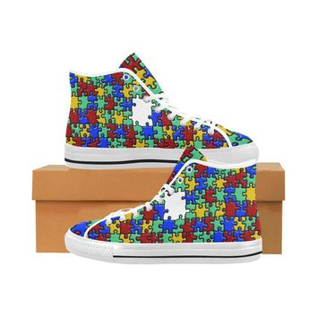 Autism Design 4 Vancouver High Top Canvas Men's Shoes