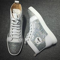 Cl Christian Louboutin Rhinestone Style #2103 Sneakers Fashion Shoes