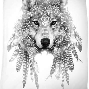 Wolf Chief 2 Black and White Fleece Blanket