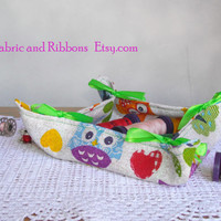 Fabric basket. Fabric bread basket. Multipurpose fabric basket. Handmade fabric basket. Fabric catch all.