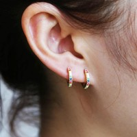 2018 Delicate tiny fashion Jewelry 925 Sterling Silver Earring colorful CZ Rainbow circle hoop mini small Earring For girl women