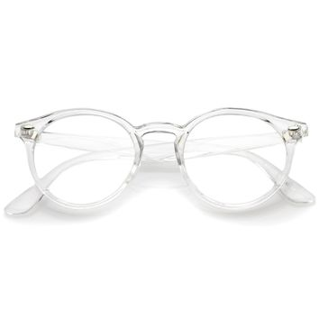Classic Translucent Horn Rimmed Clear Lens P3 Round Eyeglasses 49mm
