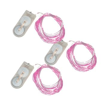 Battery Operated Mini String Lights- Pink- 3 Count